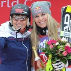 © ASP Red Bull/Erich Spiess - Annemarie Moser-Pröll and Lindsey Vonn after the sprint DH in Zauchensee