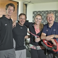 © ASP Red Bull - Lindsey and the ASP Red Bull Team (from left to right: physiotherapist Patrick Rottenhofer, fitness coach Martin Hager and the Head of ASP Robert Trenkwalder