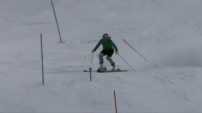 Lindsey training slalom in Vail