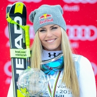 © ASP Red Bull/Erich Spiess - Lindsey with her 8th DH crystal globe!
