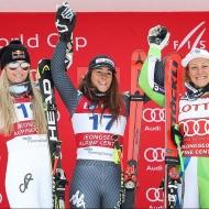 © ASP Red Bull/Erich Spiess - Aspen – DH podium: 2nd Lindsey Vonn (USA), 1st Ilka Stuhec (SLO) and 3rd Sofia Goggia (ITA)